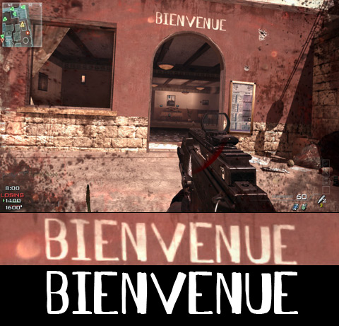 The word 'Bienvenue' in my font Antelope H, appearing in the Call Of Duty: Modern Warfare 3 multiplayer map SEATOWN