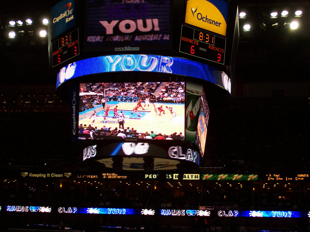 New Orleans Hornets big screen with Action Jackson