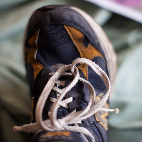 Shoelaces tied with the loops interlocked.